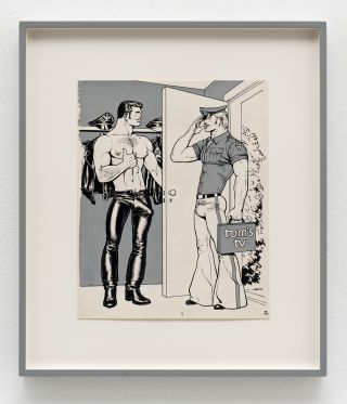 Øm nøgenhed og rå porno i billedkunsten har formet vores frisind</br>Tom of Finland, T.V. - Repair, 1972, pen, ink, gouache and cut-and-pasted photo on paper, 21 parts, courtesy David Kordansky Gallery, Los Angeles</br>Foto: Brian Forrest